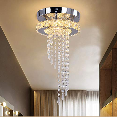 15W LED Round Crystal Ceiling Light Warm White 3500K Corridor Ceiling Lamp, Lamp in Metal for Cloakroom Apartment Indoor Decorations, Mirror Electroplating Process, 1200LM