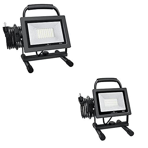 GLORIOUS-LITE 50W 30W LED Work Light, 5000 3000LM Super Bright Flood Lights, IP66 Waterproof, 16ft 5m Cord with Plug, 6500K, Adjustable Working Lights for Workshop, Garage, Construction Site
