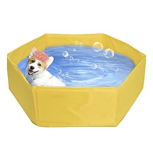 Rubyu hundpool poolbad för hundar och katter, PVC bärbar vikbar swimmingpool badkar tvättbänk, halkfri, slitstark, för barn hund katt