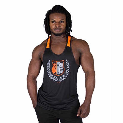 GORILLA WEAR Stringer Tank Top Herren - Lexington Shirt Bodybuilding Fitness bis 4XL Black/Neon Orange 3XL