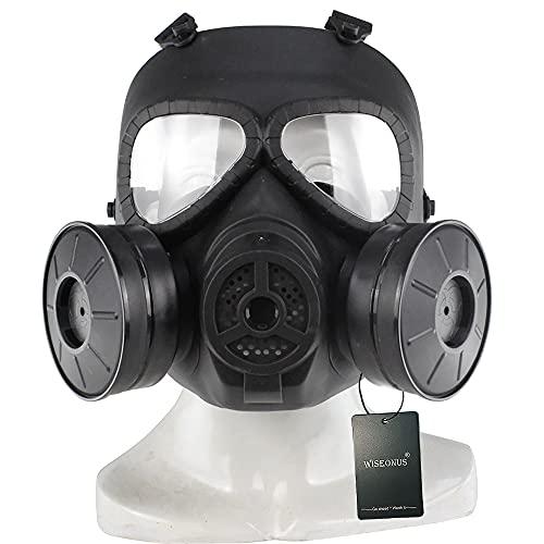 Sgoyh Taktische Masken-Attrappe mit transparenten Gläsern, Anti-Beschlag-Gas-Gesichtsmaske mit Doppel-Turbo-Lüfter, Airsoft, Paintbal-Schutzausrüstung, Schwarz