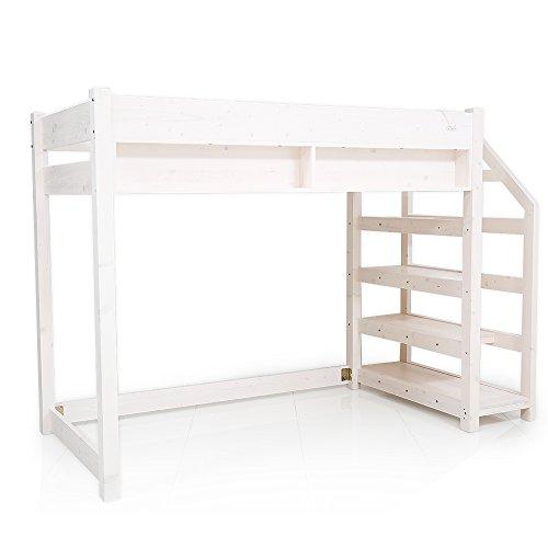 LOWYA ロウヤ ロフトベッド セミダブル コンセント付き 本棚 階段付 天然木パイン材 ホワイト