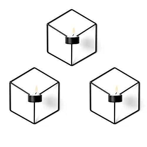 Win-Y Wandteelichthalter Metall Kerzenständer Wandkerzenhalter Kerzen- und Teelichthalter Hängend 3er Set (3XSchwarz)