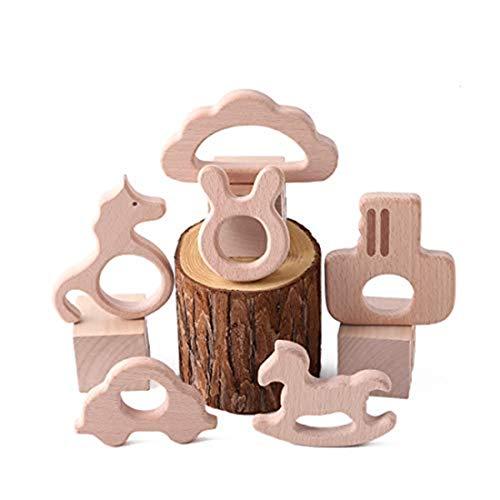 Best for baby 6pcs Baby Teether Pflegemittel Spielzeug DIY Hölzern Anhänger Blume Krone Fünfzackiger Stern Auto Trojanisches Pferd Hippocampus Umweltfreundlich Natural Buche hölzern