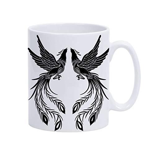 Violetpos Kaffee-Tasse Motivdruck im angesagten Porzellan Becher beidseitig Bedruckt Kaffeetasse Phoenix Schwarzer Glücklicher Vogel
