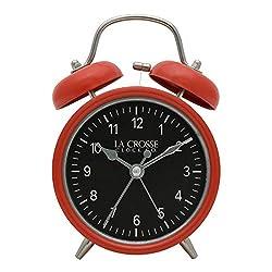 La Crosse 617-3314 Red Twin Bell Quartz Alarm Clock