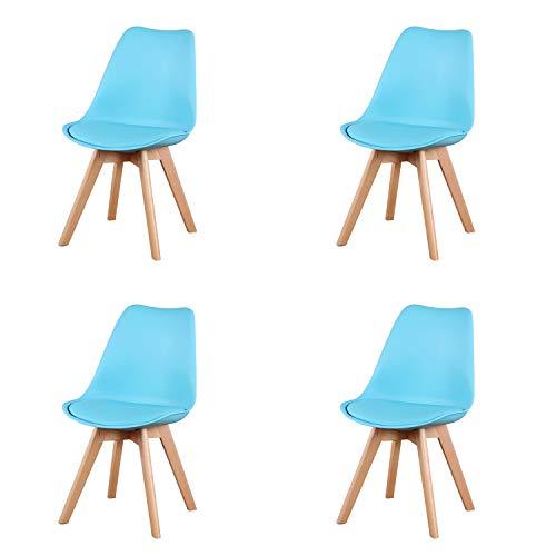 4er Set Esszimmerstühle mit Massivholz Buche Bein, Retro Design Stühle im skandinavischen Stil (Blau)