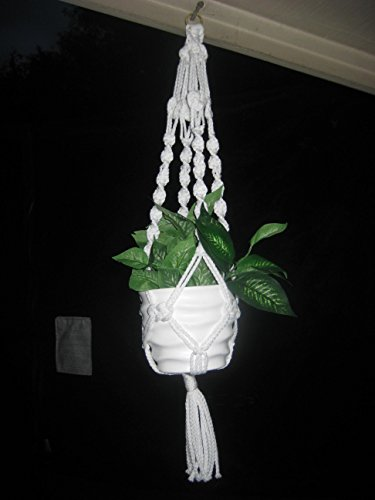 """Handmade White 26"""" Macrame Plant Hanger Perfect Gift Idea for Birthdays Mothers Day and all occasions"""