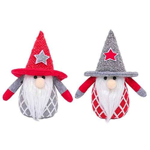 Pstarts Christmas Gnome Gifts Holiday Decoration, Kids Birthday Present, 2 Pcs Handmade Tomte Plush Doll, Home Ornaments, Tabletop Santa Figurines, 7.8 Inches