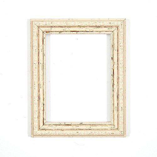 Versierde fotolijst in shabby chic B/foto/posterlijst - met achterwand MDF plaat - met een onbreekbaar plexiglas van styreen voor hoge helderheid - gedistressed wit A1