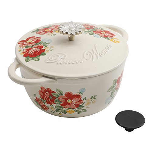 Vintage Floral 3-Quart Enameled Cast Iron Casserole Timeless Beauty Illinois