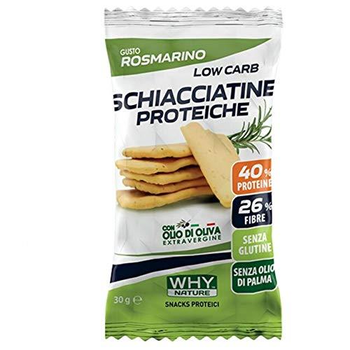 WHY NATURE Schiacciatine Proteiche Low carb. Gusto rosmarino. Senza glutine Formato da 30g.