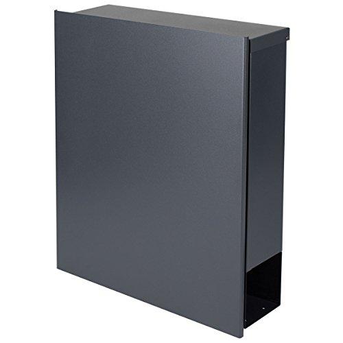 MOCAVI Box 111R Design-Briefkasten mit Zeitungsfach anthrazit-grau (RAL 7016) Wandbriefkasten, Schloss links, groß, Aufputzbriefkasten dunkelgrau, Postkasten anthrazitgrau modern mit Zeitungsrolle - 7