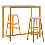 Youareking Marble Simple Bar Table Set, Widely Use Practical Round Bar Stool Golden Paint, Including One Table and Two Stools, White