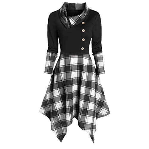 ZJRXM Womens Cowl Neck Irregular Hem Plaid Shirt Dress Casual Long Sleeve Button Patchwork Coctail Party Swing Dress Gray