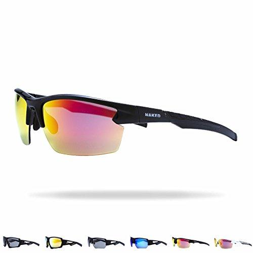 NAKED Optics Sports Sunglasses (RUSH Halfframe Black/Lens Red)