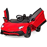 Best Choice Products Kids 12V Ride On Lamborghini Aventador SV Sports Car Toy w/ Parent Control, AUX Cable, 2 Speeds, LED Lights, Sounds - Red
