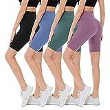 "CAMPSNAIL 4 Pack Biker Shorts for Women – 8"" High Waist Workout Biker Yoga Running Compression Exercise Shorts"
