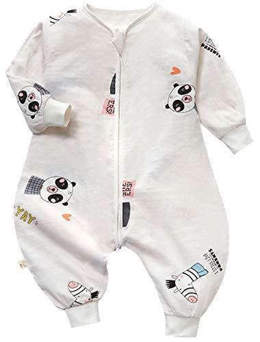 Baby Sommerschlafsack Baby Unisex Sommer Schlafsack mit Beinen und Ärmel Ganzejahres Baby Schlafsack mit Füßen 0.5 Tog aus 2 Schichten 100% Baumwollgaze, 9#, 120/Baby Höhe 105-115cm