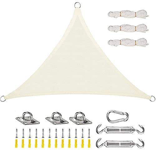 Toldo Vela de Sombra, Triángulo de Vela de Parasol Impermeable Triángulo de Vela de Jardín Transpirable Protección UV con Kit de Fijación y Cuerda para Patio, Jardín, Blanquecino,6x6x6m