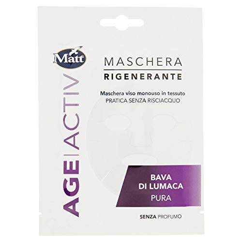 Matt - Age ActivMaschera Viso Rigenerante Monouso in Tessuto - Pratica e Senza Risciacquo - Bava di Lumaca Pura - 1 Maschera