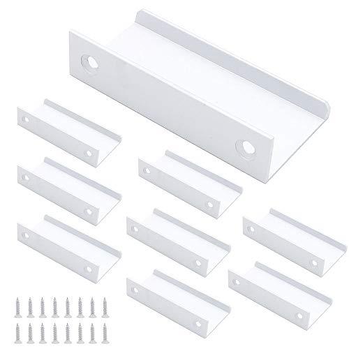 NUZAMAS - Juego de 8 asas para labio de cocina, aleación de aluminio, color plateado, manijas de puerta, mango oculto para el hogar, cocina, cocina, cajón, armario, 8 cm