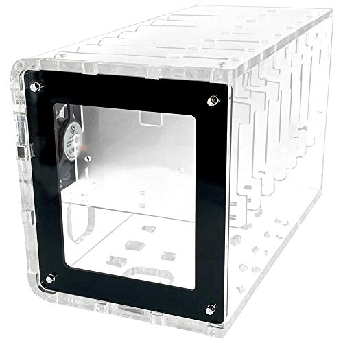 Cluster Case for Raspberry Pi and Other Single Board Computers-Clear/Black