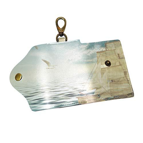 COOSUN Sailing Sea - Funda de piel para llaves (tres pliegues, con 6 ganchos, 2 ranuras, cierre a presión, para hombres y mujeres)