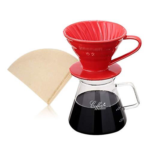 BJYG Drip Coffee Maker Set di caraffe Versare sopra caffettiera Set di Birra Ceramica Tazza Filtro caffè 4 Colori, 120 * 200 / 215mm (600ml) (Colore: A, Dimensioni: 120 * 215mm)