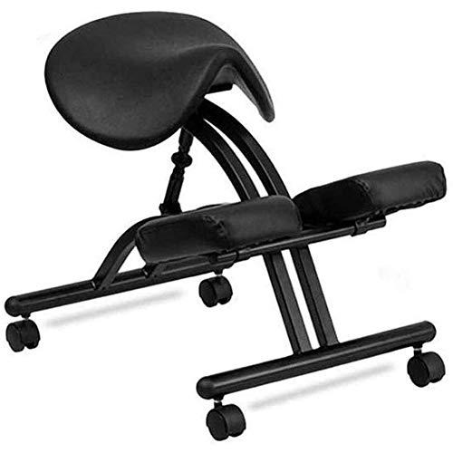 Chair Ergonomic Kneeling Adjustable Orthopedic Posture Stool Neck Pain Spine Tension Relief Kneel Seatbalance Massage (Black)