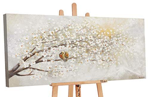 YS-Art Premium | Cuadro Pintado a Mano El Amanecer | Cuadro Moderno acrilico | 120x60 cm | Lienzo Pintado a Mano | Cuadros Dormitories | único | Gris | PS005
