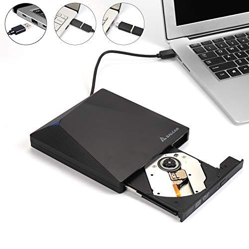 SALCAR Externes CD/DVD Laufwerk USB 3.0 mit Type-C Tragabar Brenner Player Plug&Play, Dreidimensionale Oberfläche, Kompatibel mit Win10 /8/7/10/XP and Linux, Laptop, Desktop, Mac/MacBook Air/Pro/iMac