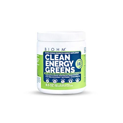 BIOHM Super Greens Superfood with Probiotics, All Natural Energy Powder Without Sugar Crash, 31 Natural Fuit, Vegetable and Herbal Extracts, Allergen Free, Non GMO, 30 Servings