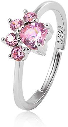 Chasiroma Ring mit Katzenpfoten-Motiv, verstellbar, Zirkonia, Hundekralle, Gold, Silber, Damenschmuck, Geburtstagsgeschenk