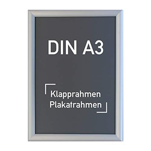 Aluminium Klapprahmen DIN A3, silber - Alu Rahmen, Plakatrahmen, Wechselrahmen, 297 x 420 mm