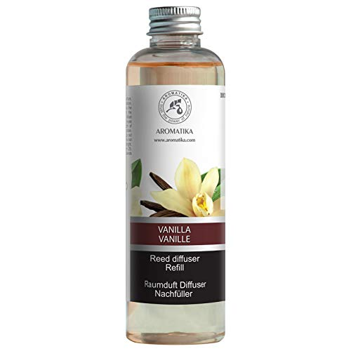 Vanilla Diffuser Refill w/Natural Essential Vanilla Oil 200ml - Intensive - Fresh & Long Lasting Fragrance - Reed Diffuser Oil Refill Vanilla - Best for Aromatherapy - SPA - Home - Office - Fitness