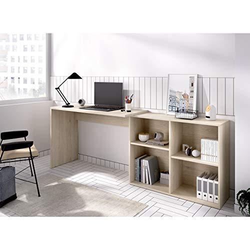 HABITMOBEL Mesa Escritorio Despacho compuesta por bajo estantería con Cuatro Huecos, Convertible en 2 Posiciones