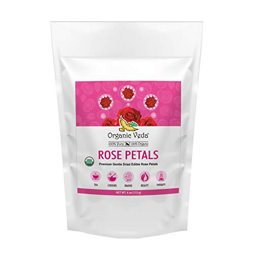 Organic Veda Rose Petal – Pure, Non-GMO, 100% Organic USDA Certified Food Grade Premium Gentle Dried Rose Petals for Tea, Cooking, Baking, Beauty, Therapy & Crafts (4 oz)