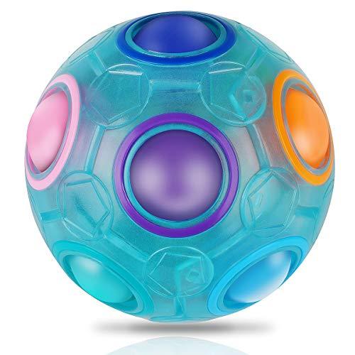 Coolzon Magic Regenbogen Ball Zauberbälle, Magisch Regenbogenball Zauberball 3D Puzzle Ball Spielzeug für Kinder Gastgeschenk,Blau
