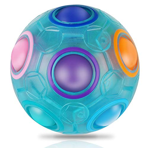 Coolzon Bola mágica del arco iris, bola luminosa Fidget Ball cubo de velocidad rompecabezas cubo de cerebro teasers juguete educativo para niños y adultos, azul