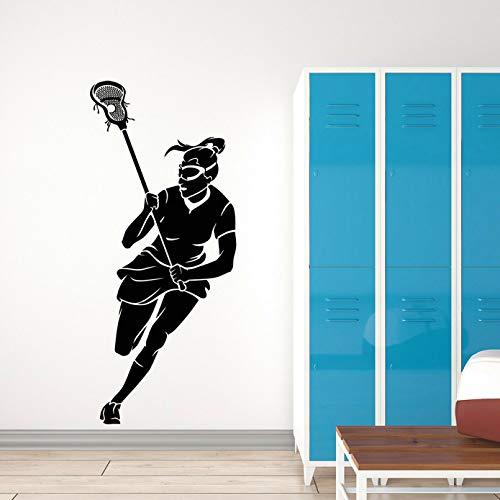 SUPWALS Modern Wall Decals Lacrosse Girl Player Stick Sports Game Ball Vinyl Wall Stickers Teen Room Exercise Room Home Decor