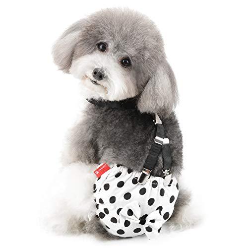 Ranphy Bragas Sanitarias para Perros con Tirantes Lavable Pañales para Perros Ropa Interior Perrito Reutilizable Perro Bragas Pañales para Perros Pantalones de Seguridad Blanco M