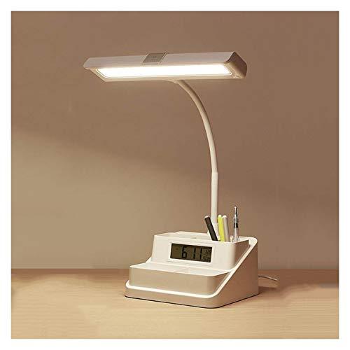 LED- Lámpara Escritorio Lámpara de lectura multifuncional Lámpara de escritorio LED regulable con soporte de pluma y pantalla de reloj de alarma, lámpara de escritorio de control de control táctil Lám