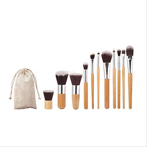 LFSHYP Kit de pinceaux de maquillage 11/6 Pcs Bambou Kabuki pinceaux Kit de pinceaux de maquillage pour fard à paupières Foundation Brosses Kit avec sac en tissu Crayon de bambou doux 11pcs