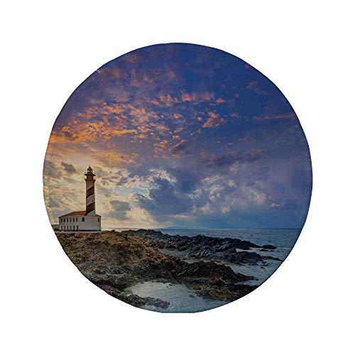 Alfombrilla de ratón Redonda de Goma Antideslizante decoración de Faro Cabo de Favaritx Sunset Lighthouse Cape en Mahón en la Costa de Las Islas Baleares de España 7.9