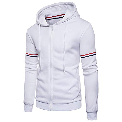Mr.BaoLong&Miss.GO Autumn and Winter Mens Jacket European Size Solid Color Cardigan Ribbon Youth Jacket Sports Hoodie Sweater Large Size Jacket White