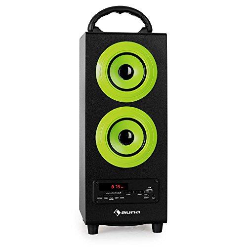 auna Beachboy - Bluetooth-Lautsprecher, Box, UKW- / MW-Radio, automatischer Sendersuchlauf, USB-Port/SD-Slot, LED-Display, AUX, Tragegriff, Akku, USB-Kabel, Fernbedienung, schwarz-grün