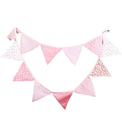 Oblique-Unique® Bunte Wimpel Girlande Baumwolle Wimpelkette Doppelseitig Farbenfroh Drinnen & Draußen - Motiv wählbar (Rosa)