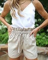 The Drop Pantalón Corto para Mujer, Paperbag, con Cinturón, Beige, por @laurenkaysims, S