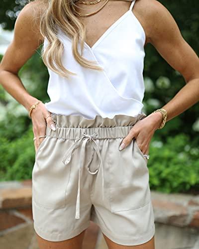 The Drop Pantalón Corto para Mujer, Paperbag, con Cinturón, Beige, por @laurenkaysims